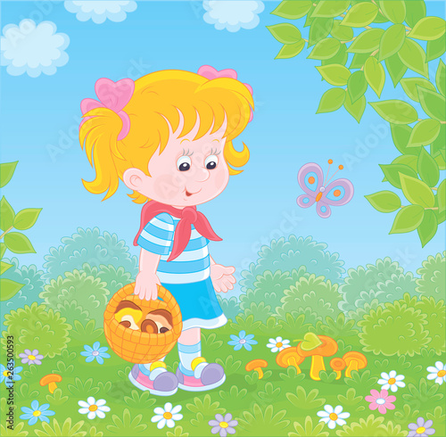 Spoed Foto op Canvas Vogels, bijen Girl walking with a basket and gathering mushrooms on a green forest glade on a summer day, vector illustration in a cartoon style