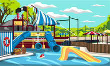 Clean Waterpark Kiddie Pirate Ship Pool Splash Mountain With Tunnels And Slides For Cartoon Vector Outdoor Architecture Design Ideas