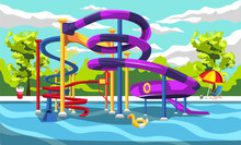 Clean Thrill Waterpark Playground Resort For Kids With Slides And Green Panorama For Cartoon Vector Outdoor Design Ideas