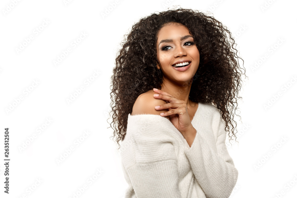 Beauty Black Skin Woman African Ethnic Female Face Young African American Model With Long Afro Hair Smiling Model Isolated On White Background Stock Gamesageddon