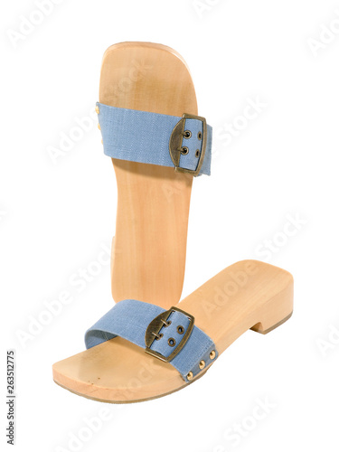 Sandals Blue Denim With Wooden Sole Isolated On White Buy This