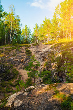 Summer Forest Mountain Landscape - Marble High Steep Near The Sugomak Cave In Southern Urals, Russia