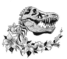 T Rex Skull And Flowers. Ink Black And White Drawing