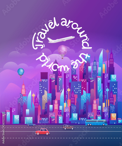 Poster Violet Travel around the world. Cityscape with modern skyscrapers and vehicles. Vertical vector illustration