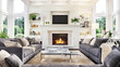 Leinwanddruck Bild - Luxurious interior design living room and fireplace in a beautiful house
