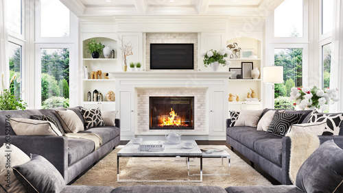 Luxurious interior design living room and fireplace in a beautiful house Fototapeta