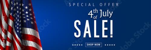 Fototapeta Banner for 4th of July Sale design. Independence day sale with 3d percent symbol. Vector illustration for business promotion. obraz