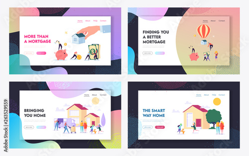 Foto auf Gartenposter Cartoon cars Mortgage and Buying House Concept Website Landing Page Templates Set. Borrower Making Payment for Real Estate Loan Agreement. Home Piggy Bank, Credit. Web Page Cartoon Flat Vector Illustration, Banner