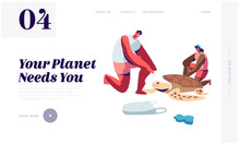Volunteers Saving Turtle On Polluted Seaside. Ecology And Animals Protection Movement, Stop Plastic Littering, Waste Recycling Website Landing Page, Web Page Cartoon Flat Vector Illustration, Banner