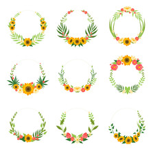 Floral Wreath With Sunflowers And Leaves Set, Circle Frames Borders With Place For Text, Design Element For Greeting Card, Invitation, Banner Vector Illustration