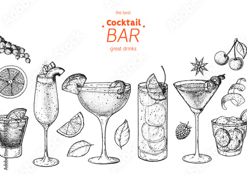 Fotomural  Alcoholic cocktails hand drawn vector illustration