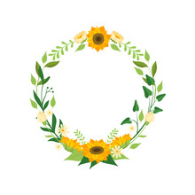 Floral Wreath With Sunflowers, Circle Frame With Leaves, Flowers And Place For Text, Design Element For Greeting Card, Invitation, Banner Vector Illustration