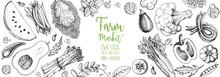 Healthy Food Vector Illustration. Vegetables Hand Drawn. Organic Products Set. Farm Market Food Collection. Celery, Tomato, Pepper, Broccoli, Peas, Pumpkin, Asparagus,salad Sketch