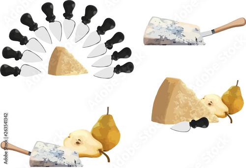 Fotografie, Tablou formaggio gorgonzola e parmigiano reggiano