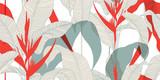 Kwiatowy wzór w stylu vintage orientalnym. Egzotyczne liście z czerwonymi kwiatami Heliconia na jasnym tle. Ilustracji wektorowych