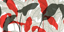 Fashionable Seamless Floral Pattern In Vintage Style. Sketch Of Exotic Leaves On A Light Background. Hand-drawn Vector Illustration.