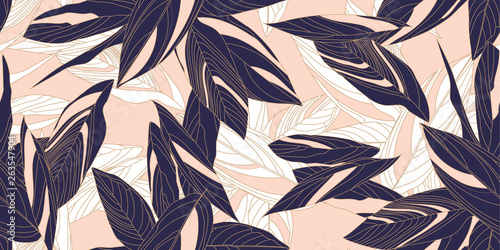 Abstract seamless floral pattern in modern style. Leaves of Cordelia on a pink background. Vector illustration.
