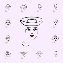 Breton Hat, Girl Icon. Hat, Girl Icons Universal Set For Web And Mobile