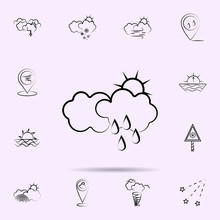 Cloud, Sun, Rain Icon. Weather...