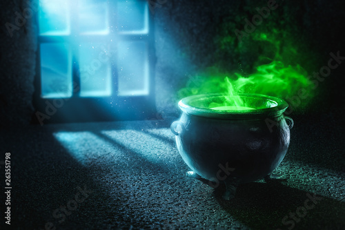 Valokuva 3D illustration of a witches cauldron with green potion