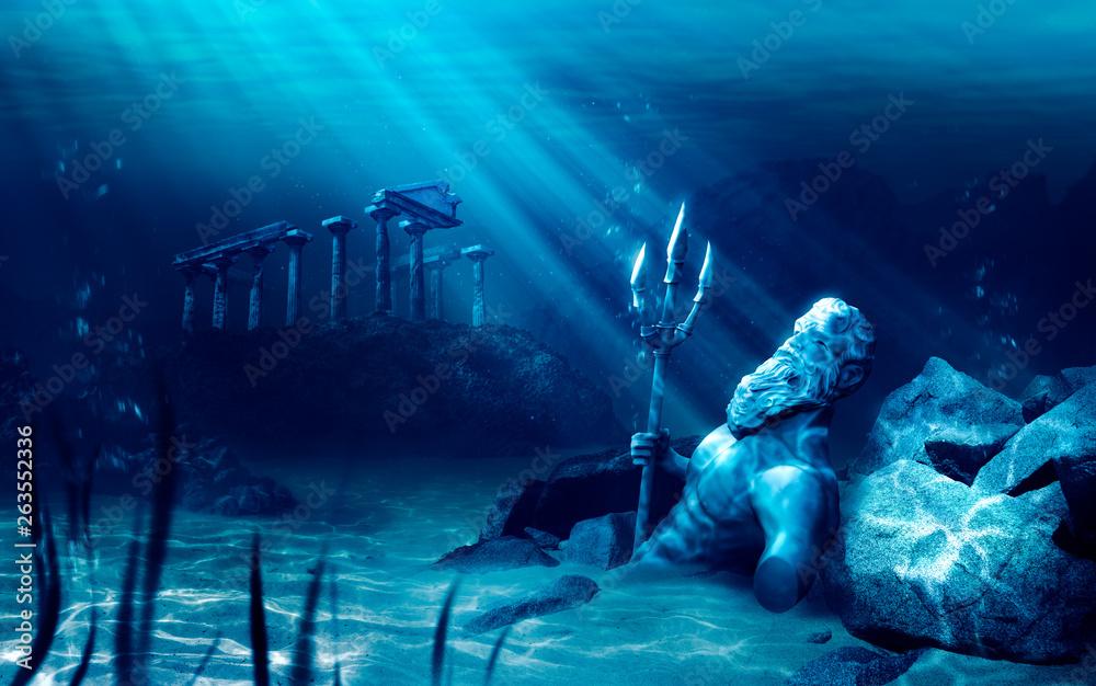 Fototapety, obrazy: lost civilization of atlantis sunken deep in the ocean / 3D rendering