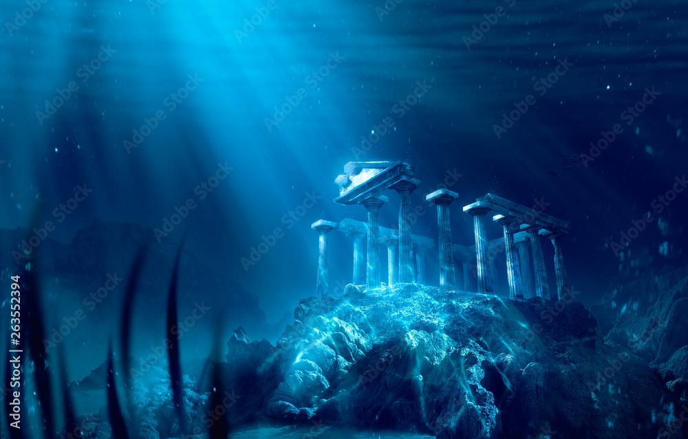 Fototapeta lost civilization of atlantis sunken deep in the ocean / 3D rendering