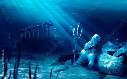 lost civilization of atlantis sunken deep in the ocean / 3D rendering