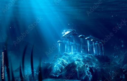 Cuadros en Lienzo lost civilization of atlantis sunken deep in the ocean / 3D rendering