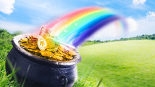 3D Illustration Of A Cauldron Filled With Golden Coins