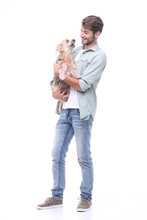 In Full Growth. A Young Man With His Dog