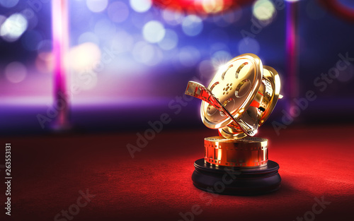 Photographie 3d illustration of a movie award on a red carpet