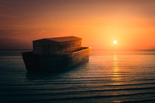 Noahs Ark On The Sea, 3D Rendering, Mixed Media