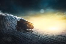 Noahs Ark In A Storm / 3d Illu...