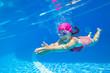 Leinwanddruck Bild girl swim in  pool