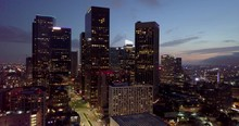 Aerial Drone Footage Of Downtown Los Angeles. This Was Shot At Sunset Showing