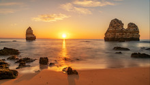 Beautiful Beach At Famous Beach, Algarve, Portugal
