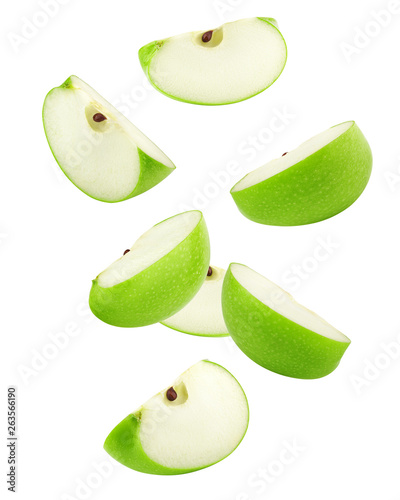 Fototapeta Falling green juicy apple isolated on white background, clipping path, full depth of field obraz