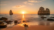 canvas print picture - Beautiful sunset at famous beach near Lagos, Algarve, Portugal