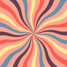 Bright Retro Background With Wavy Sunshine In Modern Colors Of 2019. Retro Starburst Style Spiraling. Flat Vector