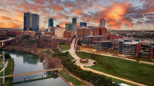 Autocollant pour porte Texas Aerial Downtown Fort Worth, Texas