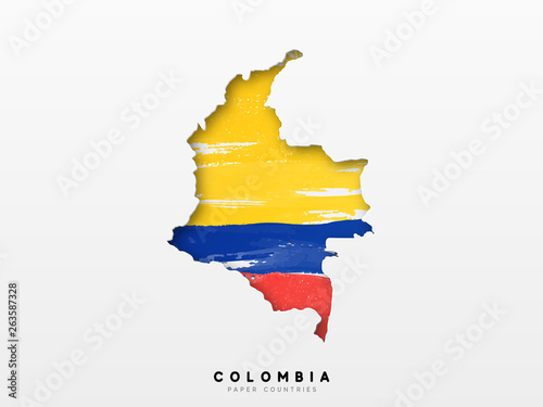 Obraz na plátne Colombia detailed map with flag of country