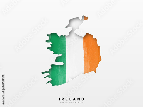 Ireland detailed map with flag of country Wallpaper Mural