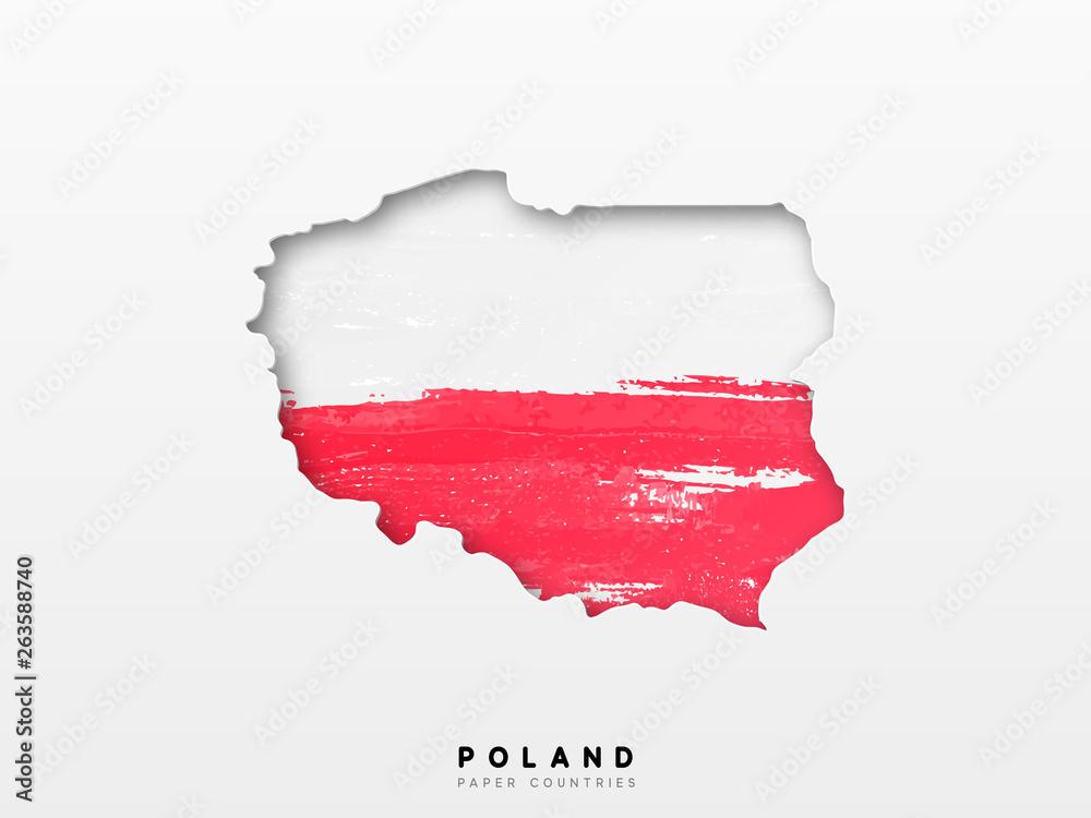 Polska szczegółowa mapa z flagą kraju. Malowany w kolorach akwareli w flagi narodowej <span>plik: #263588740 | autor: lauritta</span>
