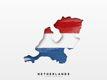 Netherlands Detailed Map With Flag Of Country. Painted In Watercolor Paint Colors In The National Flag