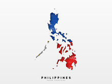 Philippines Detailed Map With Flag Of Country. Painted In Watercolor Paint Colors In The National Flag