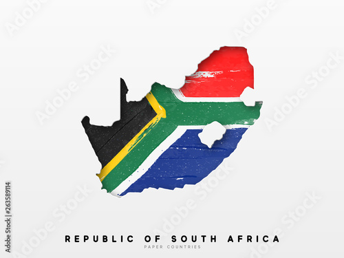 Fototapeta Republic of South Africa detailed map with flag of country