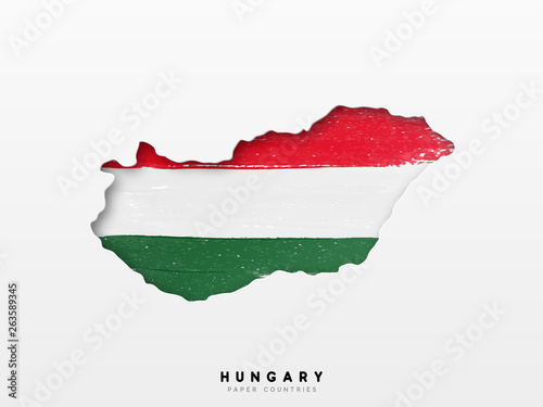Fotografie, Obraz Hungary detailed map with flag of country