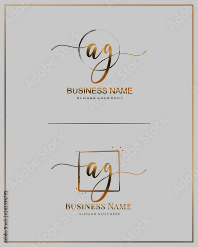Photo Initial A G AG handwriting logo vector