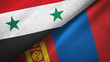 Syria and Mongolia two flags textile cloth, fabric texture