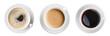 Leinwandbild Motiv coffee cup top view set isolated